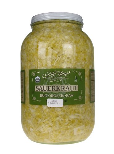Gold Mine Organic Fresh Raw Un-Pasteurized Cabbage Sauerkraut - Macrobiotic, Gluten-Free, Kosher and Vegan Side Dish - 1 Gal (Made in the USA)