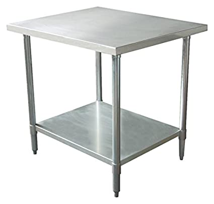 30 x 18 Legs and Leg Socket 18 Gauge Top Johnson Rose 83019 Work Table with 1-1//2 Rear Up-Turn Galvanized Under Shelf 430 Stainless Steel #4 Finish