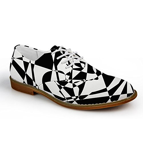 HUGS IDEA Classic Black and White Mens Oxford Flats Lace Up Shoes Black and White 6 ifRY7VZLk