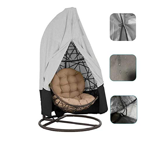 skyfiree Patio Hanging Egg Chair Cover Large 2 Person Double 91X80 Inches Swing Egg Chair Cover with Zipper 210 D Oxford Waterproof Outdoor Pod Chair Garden Wicker Swingasan Cover (Grey&Black) (Wicker Egg Offers Chair Hanging)