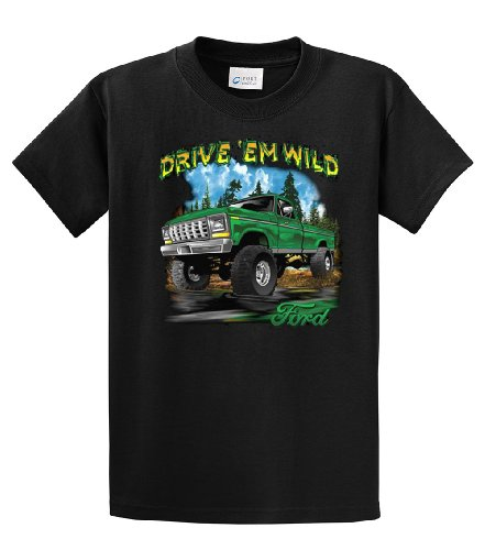 Ford T-Shirt Drive 'Em Wild 4x4 Truck-Medium Black (2006 Ford F350 King Ranch Diesel For Sale)