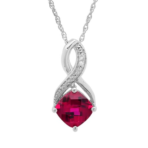 Pendant Necklace Ruby Diamond - Created Ruby and Diamond Pendant-Necklace in Sterling Silver (1 3/4ct tgw)