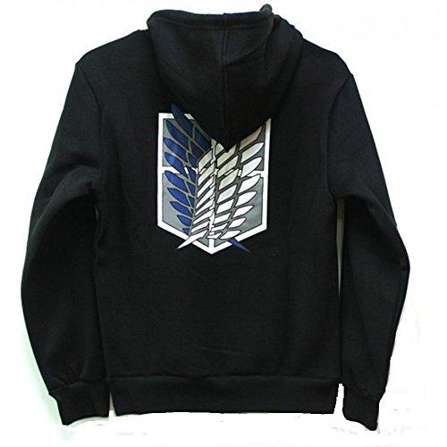 Attack on Titan Cool Jacket Sweater Zip Hoodie Cosplay Costume for Men Women (XXL, Black)