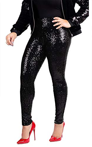 DingAng Women's Sequine Sparkle Party Stretchy Leggings Bling Tights High Waist Pants Black XL ()