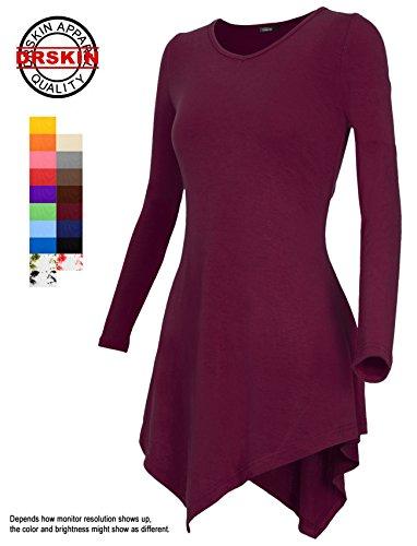 [DRSKIN] Women Handkerchief Hem Long Sleeve Tunic Top (XL, Wine) ()
