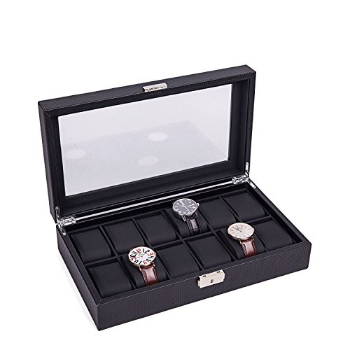 Men's Watch Box Cases Display Glass Top Jewelry Case Organizer (12 Slots - List Brands Sunglass For Men