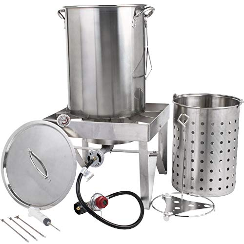 30 Qt. STAINLESS STEEL Turkey Deep Fryer Kit Steamer Pot Propane LP by Turner's Merchant (Deep Fried Turkey Injector)