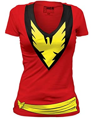 Authentic MARVEL X-Men The Phoenix Girl Juniors Costume Red T-SHIRT S M L XL NEW