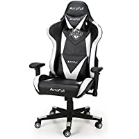 AutoFull Computer Adjustable Reclining High-Back PU Leather Swivel Gaming Chair (White)