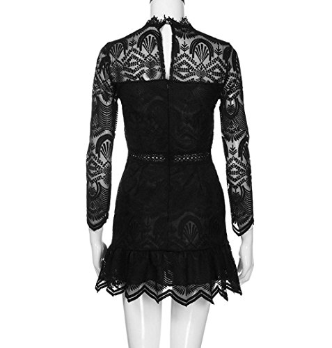 Kleid Kurze Rockabilly Mini Langarm Cocktail ZEZKT☀Spitzenkleider Rundhals Hochzeitskleid Damen Frauen Knielang Cocktailkleid Weiß kleid Rückenfrei Lässig Blumen Kleid Knielang fT7f4HqwA
