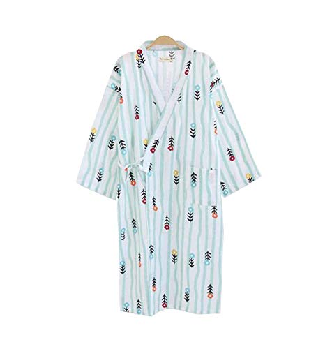 DRAGON SONIC Japanese Style Women Cotton Bathrobe Pajamas Kimono Skirt(Thin), A5