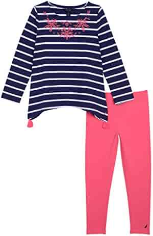 Nautica Girls' Jersey Stripe Top with Knit Legging