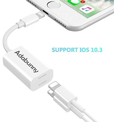 iPhone 7 8 X Adapter & Splitter, ADABUNNY Dual Lightning Headphone Audio & Charge Adapter for iPhone X 8 / 8 Plus / 7 / 7 Plus Compatible for iOS 11 or later