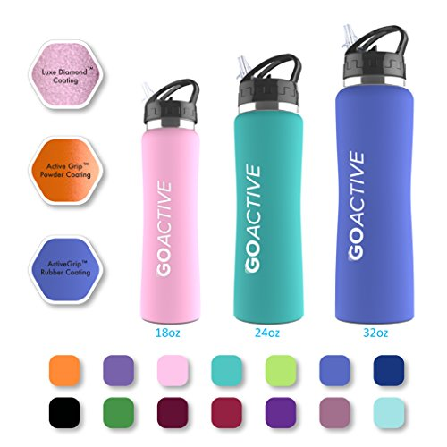 GO Bottles Stainless Steel Insulated Water Bottle with Flip Straw and Sweat-Proof Rubber Grip H2O Sports Drinking Bottle, 24 oz.