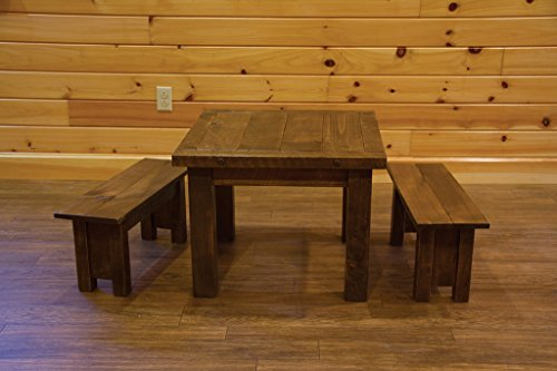 (Barn Wood Style Timber Peg Children's Table with 2 Benches- Amish Made USA)