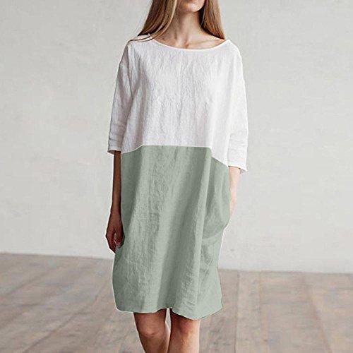 Playa de QinMM de Mujer Mini Verde túnica Suelta algodón de Vestido de de Blusa Manga 2 1 Vestido 6IOqIr