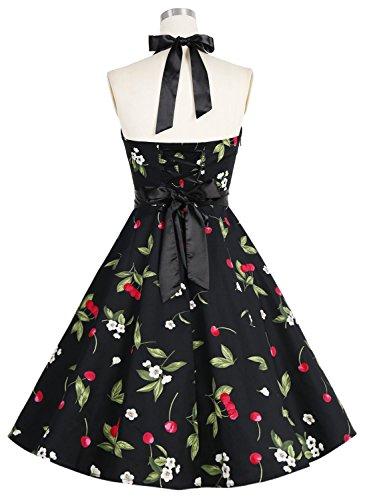 Dressystar Vestidos De Muejers Corto Halter Lunares Rretro Vintage 50s 60s Rockabilly Cherry1