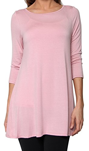 Free to Live Women's Extra Long Flowy Elbow Sleeve Jersey Tunic Made In USA (3X, Rose)