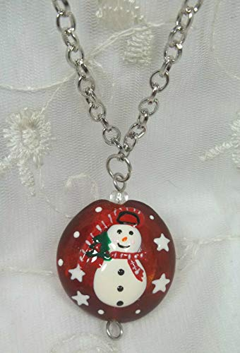 Red Glass Christmas Snowman Pendant Necklace For Women Silver Fashion Jewelry New