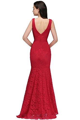 Ausschnitt Rot MisShow® 46 Spitzen V Cocktailkleid Ballkleid lang Damen 32 Meerjungfrau Elegant Abendkleid qwxR1gF