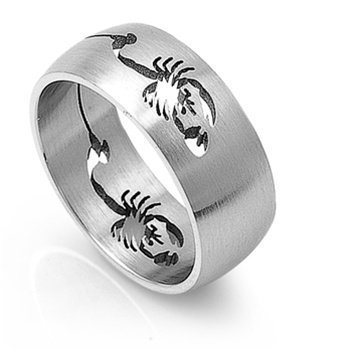 (JewelryVolt Stainless Steel Ring Cutout Dual Desert Brushed Comfort Fit Band (Scorpion 13))