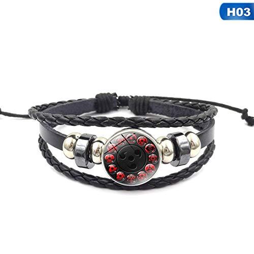 (LUCILAS 8,7 inch Sharingan Eye Naruto Black Leather Bracelet Glass Cabochon Multi-Layered Braided Leather Bracelets Anime Lover Gifts)