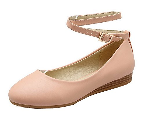Odomolor Women's PU Solid Buckle Round-Toe Low-Heels Pumps-Shoes Pink FvzplB