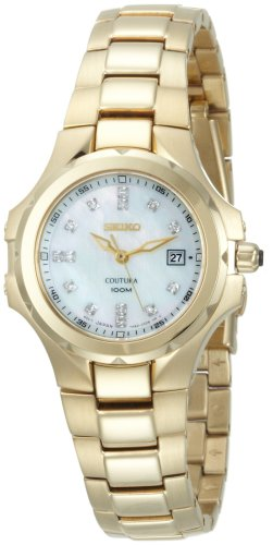 Seiko Women's SXDB62 Coutura Gold-Tone White Mother Of Pearl Dial 14 Diamonds (Coutura Mother Of Pearl Dial)