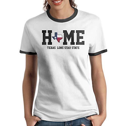 AeosJoy Women's Ringer T-Shirt Texas State, Ladies Tee Short Sleeves Teen Girls Jersey Shirt Black XXL