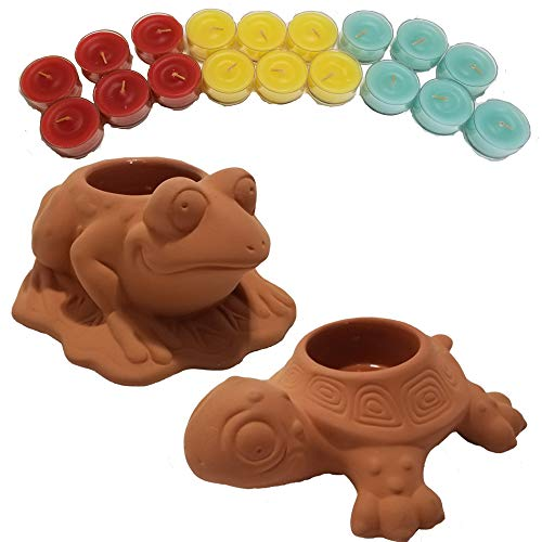 ShoppeShare Turtle and Frog Terra Cotta Tealight Holders Garden Decoration and Candles Bundle - Retired Partylite