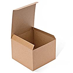 Mesha Kraft Boxes 5 x 5 x 3.5 inches, Brown Paper Gift Boxes with Lids for Gifts, Crafting, Cupcake Boxes