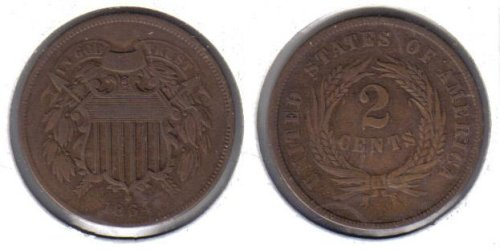 1864 Two Cent Piece Old US Civil War Antique Copper Coin 1864 2 Cent Coin