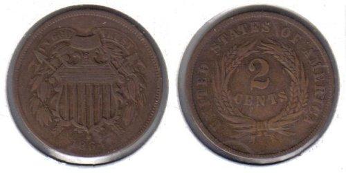 1864 Two Cent Piece Old US Civil War Antique Copper Coin ()