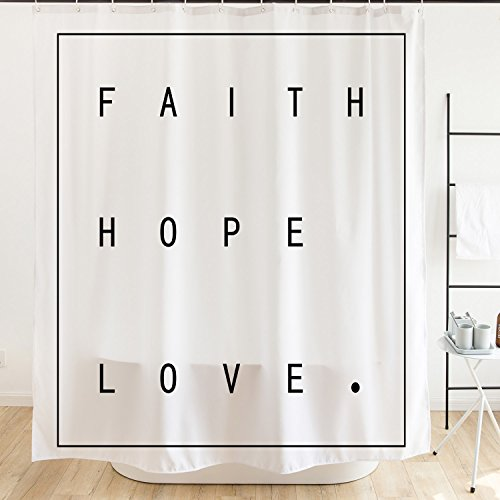 Orange Design Simple Bible Quote Shower Curtain With Hooks