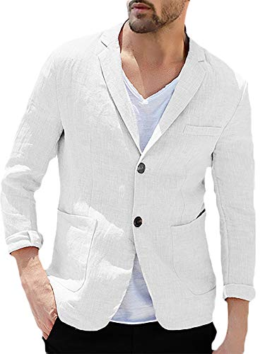 - Enjoybuy Mens Linen Tailored Long Sleeve Blazer Casual Two-Button Suit Lightweight Jacket (Large, White)