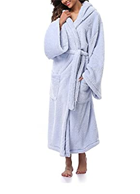 FADSHOW Women's Fleece Bathrobes Long Hooded Robes Floor Length NightGown