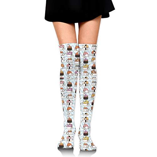 (WRE8577 Jump Sushi American Flag Socks Compression Socks Knee High Long Stockings for Travel Baseball)