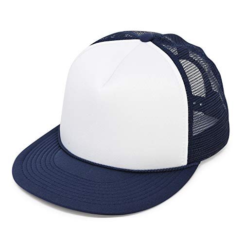 Flat Billed Trucker Cap with Mesh Back in Navy-White