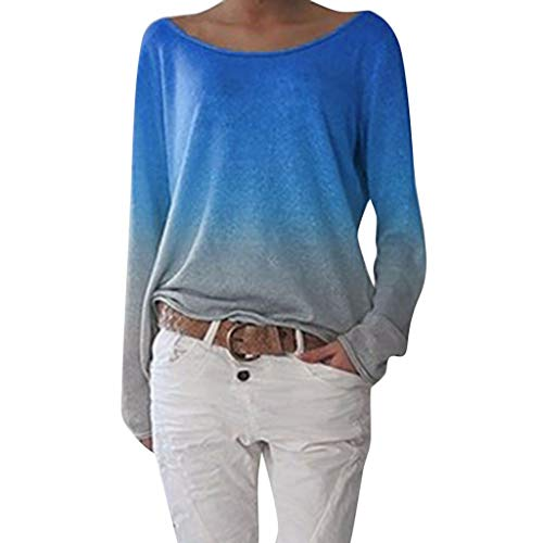 Wintialy Autumn Women Ladies Long Sleeve Women's Ladies Gradient Round Neck Shirt Blouse Blue