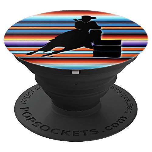 Bold Colorful Southwest Serape with Barrel Racing Cowgirl - PopSockets Grip and Stand for Phones and Tablets