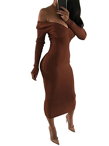 Rib Sweater Dress (Ao&Mo Women's Off Shoulder Long Sleeve Rib Knit Sweater Bodycon Maxi Dress X-Large Brown)