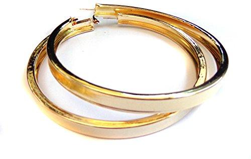 Large 4 Inch Hoop Earrings Thick Tube Hoop Gold Tone Hoop Earrings