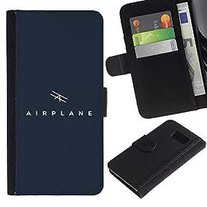 Billetera de Cuero Caso Titular de la tarjeta Carcasa Funda para Samsung Galaxy S6 SM-G920 / air plane / STRONG