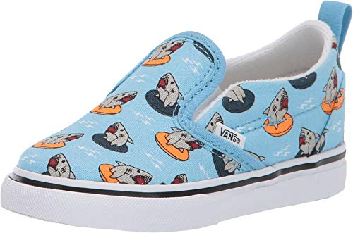 Vans Kids Baby Boy's Slip-On V (Toddler) (Floatie Sharks) Sailor Blue/True White 8.5 M US Toddler -