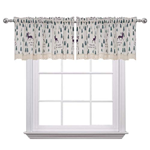 (Curtain Valances for Windows Christmas Cotton Blend Window Valance for Kids Room Deer Print 52 x 18 inches Rod Pocket Set of 2 Dark Green)