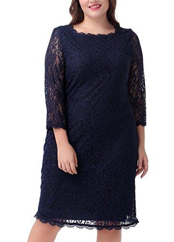 Nemidor Women's 3/4 Sleeves Plus Size Cocktail Party Midi Lace Dress (16W, Navy)