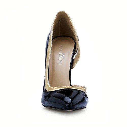 Alto Clic Negros Caen Puntos Productos La De Black Haga Del Nuevos Cuero En Grandes Zapato Barnizado Mujeres Talón Zapatos Labor Las vndSO