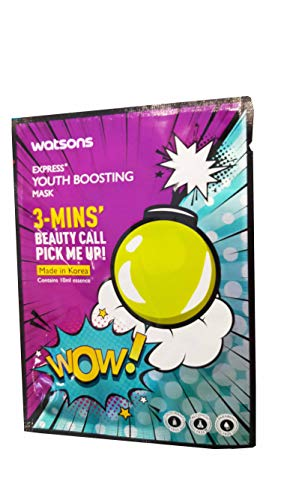 2 Mask Sheets of Watsons Express, Youth Boosting Mask. 3 - Mins' Beauty Call Pick Me Up!. Colourant free, Alcohol free, Paraben free. (10 ml. essence/sheet)