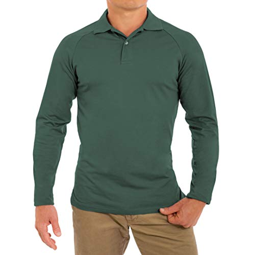 CC Perfect Slim Fit Long Sleeve Polo Shirts for Men | Soft Fitted Breathable Mens Long Sleeve Polo Shirts, Extra Large, Dark - Sleeve Polo Long Green