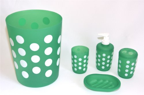 (5 PIECE BATH SET: Wastebasket, Soap Dish, Drinking Cup, Toothbrush Holder, Tumbler: GREEN with WHITE POLKA DOTS)